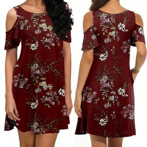 Dresses & Skirts - WINE FLORAL SWEETIE POCKET Dress *NWT*